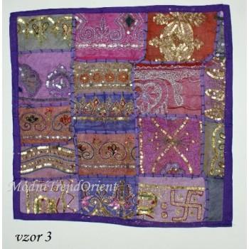 Polštář patchwork INDIE fialový